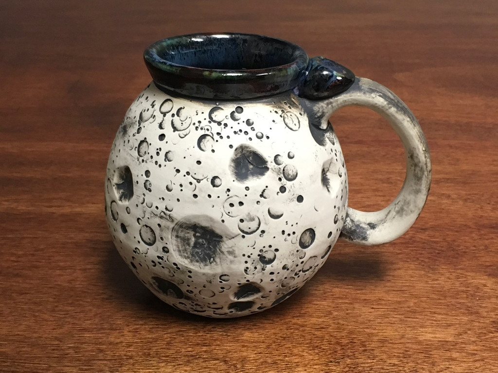 Moon Mug with a Blue Nebula Interior, roughly 14-16oz size, (SK1539)