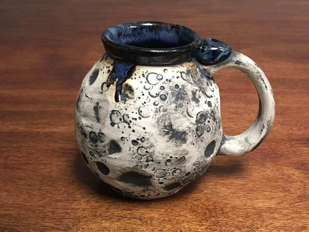 Moon Mug with a Blue Nebula Interior, roughly 14-16oz size, (SK1546)