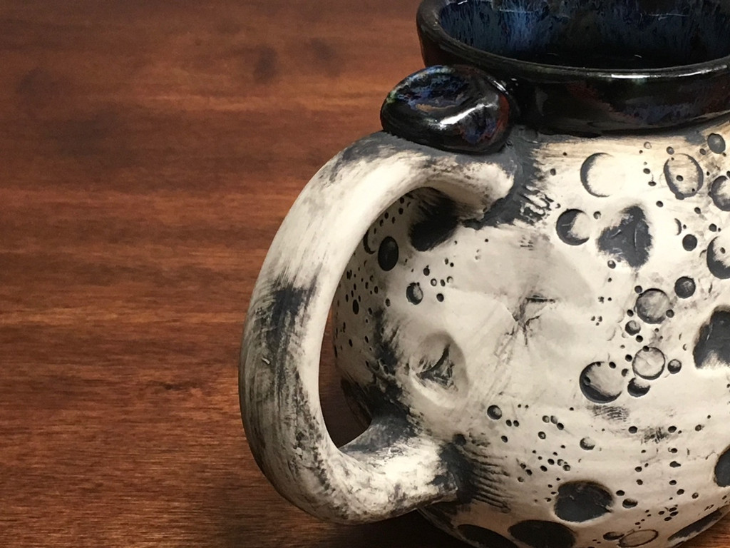 Moon Mug with a Blue Nebula Interior, roughly 15-17oz size, (SK1547)