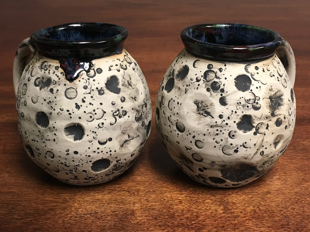 Pair of Moon Mugs with a Blue Nebula Interior, roughly 14-16oz size each, (SK1561)