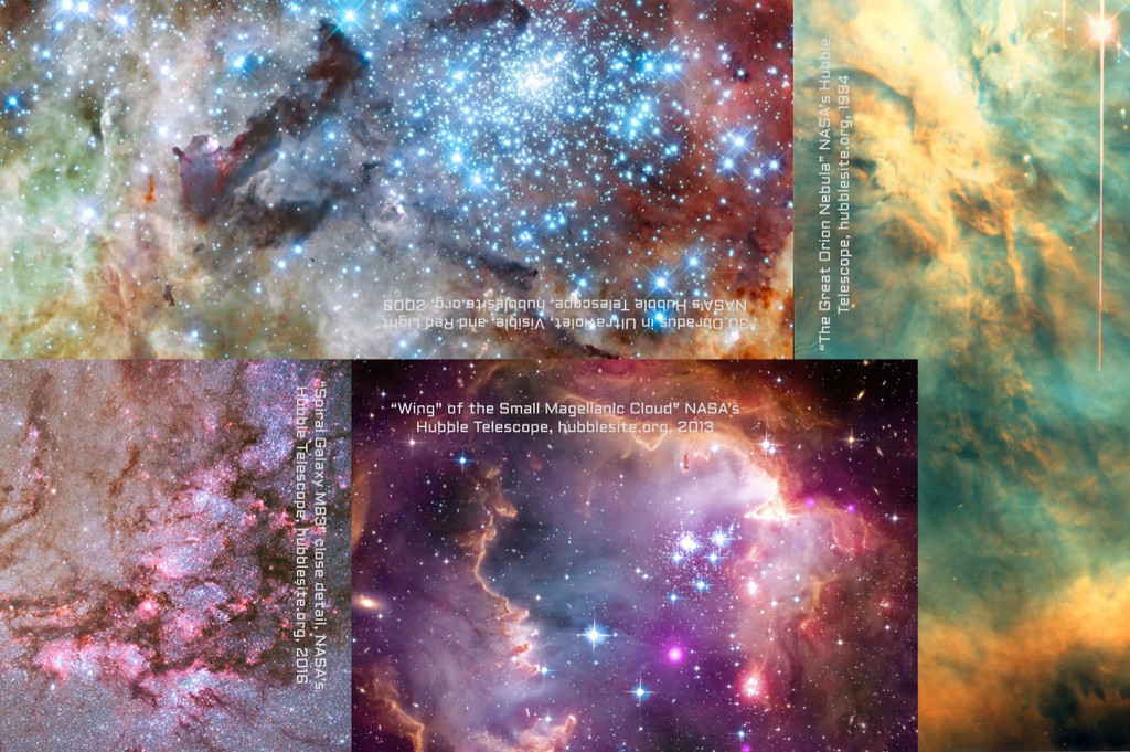 """Every """"Factory Designed Cosmic Mug"""" is wrapped in high-quality tissue paper with this composite image of 4 outer space gas clouds, captured by NASA's Hubble Space Telescope"""