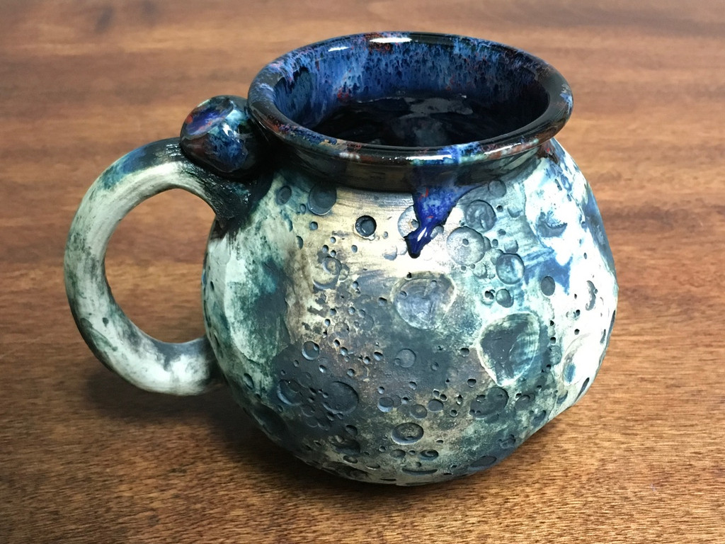 """Moon Mug"" with a Blue Nebula Interior, roughly 14-16oz size, (SK3130)"