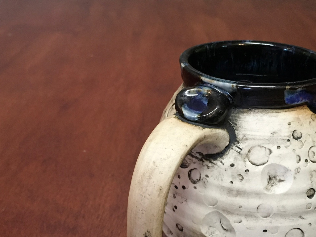 """PATRONS ONLY: """"Moon Mug"""" with a Blue Nebula Interior, roughly 12-14oz size, (SK4142)"""