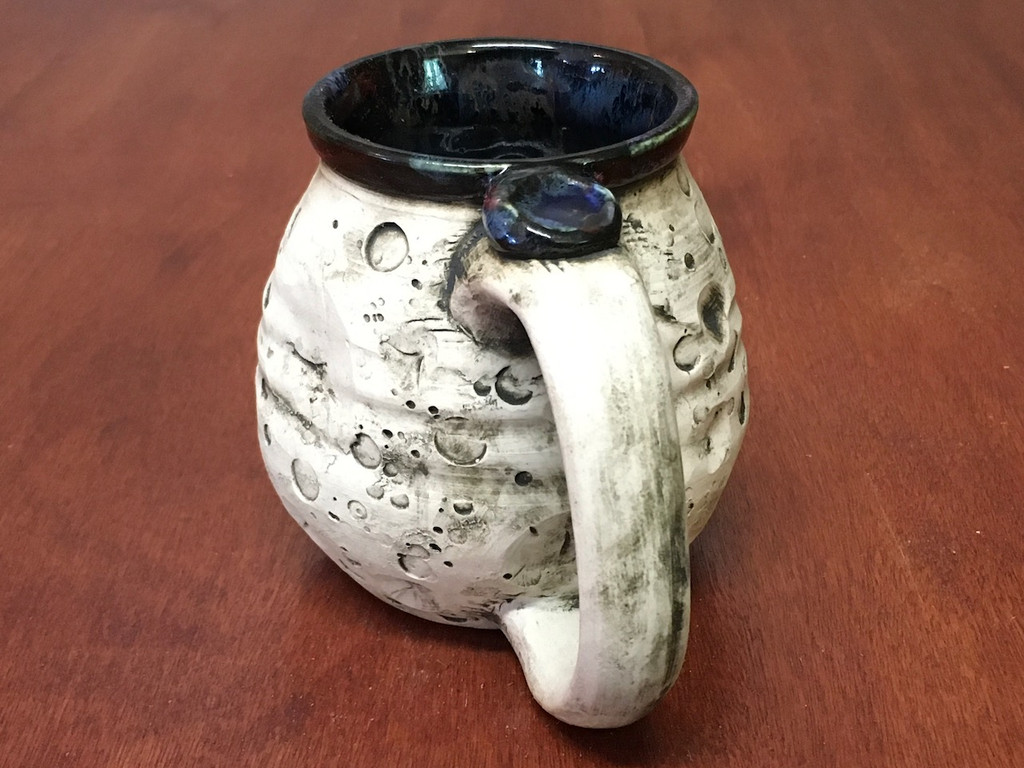 Flawed Moon Mug with a Blue Nebula Interior, roughly 12-14oz size, (SK4185)