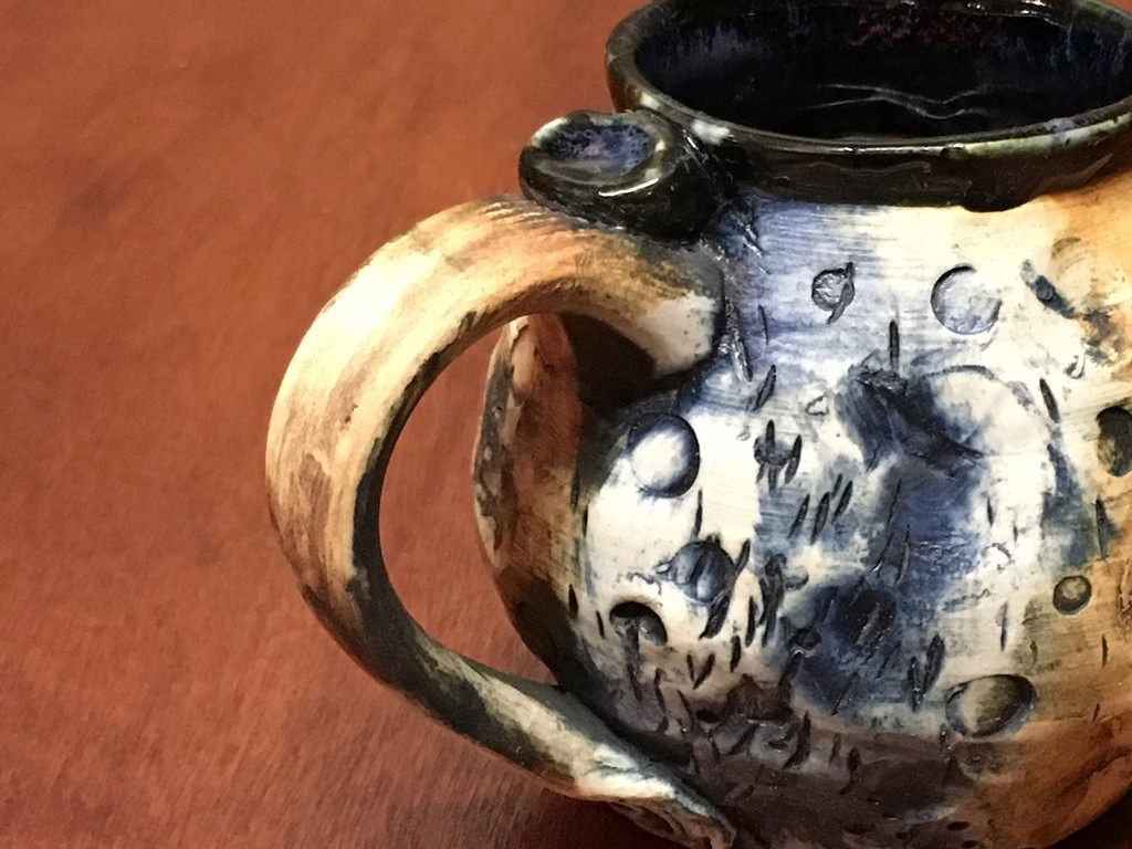 """Very Small """"Moon Mug"""" with a Blue Nebula Interior, roughly 10-12oz size, (SK4186)"""