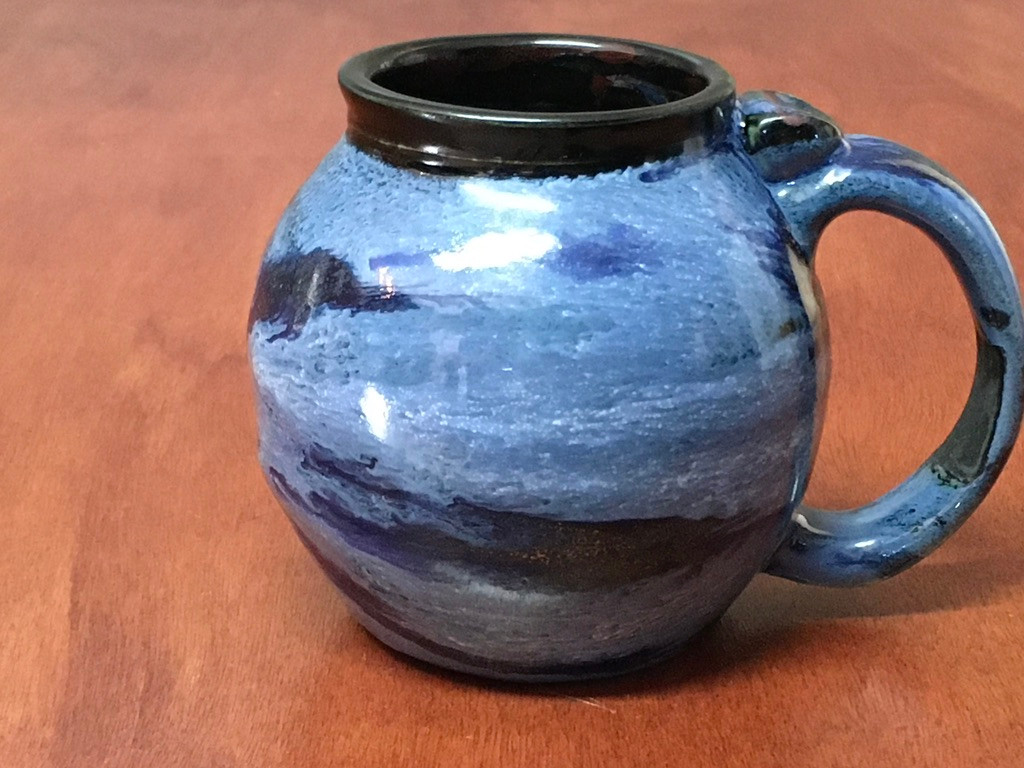PATRONS ONLY: Neptune Mug with a Blue Nebula Interior, roughly 14-16oz size, (SK5103)