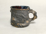 Unique matte surface Meteorite Mug with a Blue Nebula Interior, roughly 16-17 ounce size, (SK425)