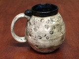 """PATRONS ONLY: """"Moon Mug"""" with a Nebula Interior, roughly 16-18oz size, (SK4286)"""