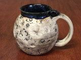 """PATRONS ONLY: Small """"Moon Mug"""" with a Blue Nebula Interior, roughly 12-14oz size, (SK4558)"""