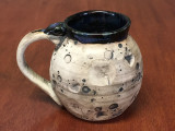"""PATRONS ONLY: Small """"Moon Mug"""" with a Blue Nebula Interior, roughly 10-12oz size, (SK4559)"""