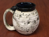 Flawed Moon Mug with a Blue Nebula Interior, roughly 12-14oz size, (SK4573)