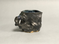 Meteorite Mug with a Blue Nebula Interior, roughly 12-14 ounce size, (SK303)