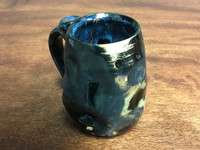 Small Unique Meteor Mug with a Blue Nebula Interior, roughly 10-12ounce size, (SK1153)