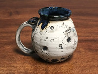 Moon Mug with a Blue Nebula Interior, roughly 14-16oz size, (SK1340)