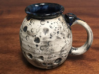 Moon Mug with a Blue Nebula Interior, roughly 14-16oz size, (SK1403)