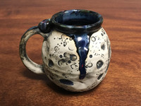 Flawed Moon Mug with a Blue Nebula Interior, roughly 14-16oz size, (SK1423)