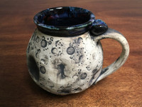 """Moon Mug"" with a Blue Nebula Interior, roughly 14-16oz size, (SK3192)"