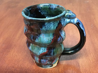 Tapered Spiral Cosmic Mug, roughly 14-16oz size, Inspired by a Star-Formation Nebula (SK3977)