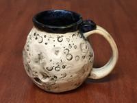 """Moon Mug"" with a Blue Nebula Interior, roughly 12-14oz size, (SK4365)"