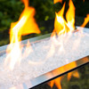 Angled view of crystal clear fire glass pieces