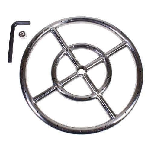 "12"" Round Fire Pit Burner Ring, Stainless Steel, Double Ring"
