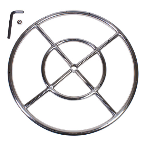 """18"""" Round Fire Pit Burner Ring, Stainless Steel, Double Ring"""