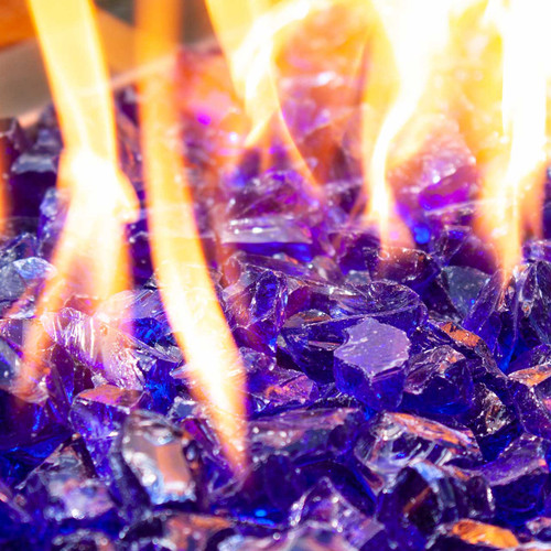 Close-up of indigo blue Crushed Fire Glass in fire pit