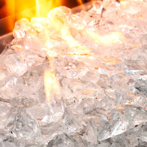 Is that ice that's on fire?? Nope! That's crushed glass designed to give the awesome effect of ice pieces for your fire pit.