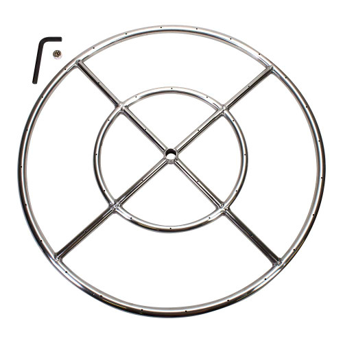"24"" Round Fire Pit Burner Ring, Stainless Steel, Double Ring"