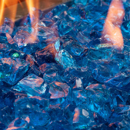 Close-up of ocean blue fire glass