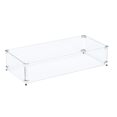"""Tempered Glass Flame Guard for 24""""x8"""" Fire Pit"""