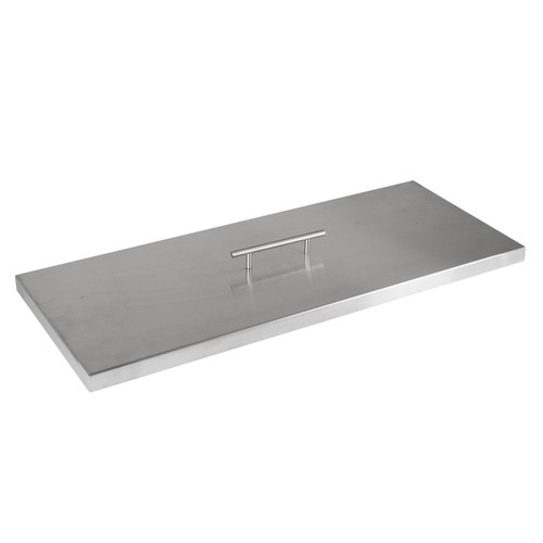 """Fire Pit Cover for 24""""x8"""" Rectangular Burner Pan, Stainless Steel"""