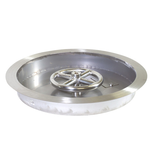 "Round Stainless Steel 13"" Drop-In Gas Fire Pit Pan"