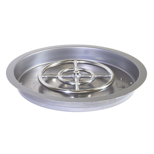 "Round Stainless Steel 19"" Drop-In Gas Fire Pit Pan"
