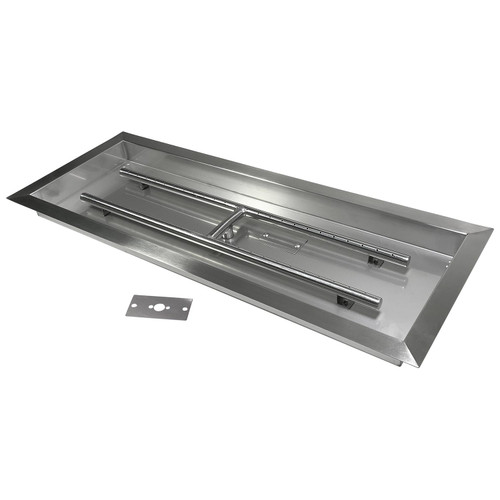"""30"""" x 10"""" Fire Pit Burner Pan with H-Burner. Stainless Steel."""
