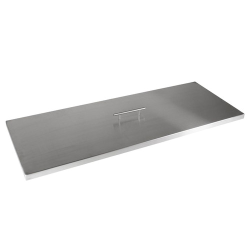 """Fire Pit Cover for 30""""x10"""" Rectangular Burner Pan, Stainless Steel"""