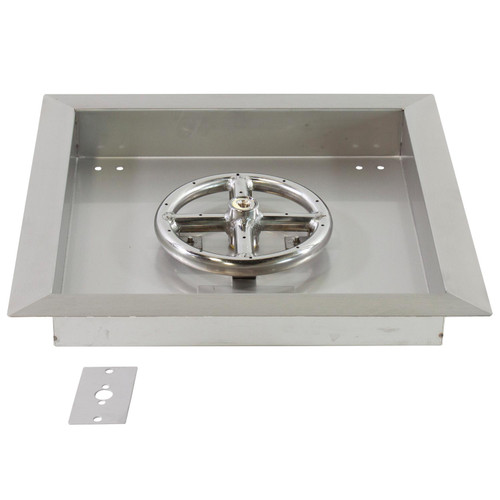"12"" X 12"" Stainless Steel Drop-In Fire Pit Pan w/ 6"" Burner"