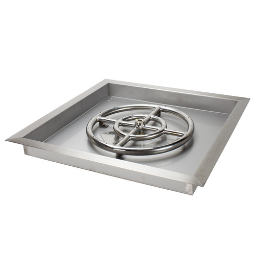 "18"" X 18"" Stainless Steel Drop-In Fire Pit Pan w/ 12"" Burner"
