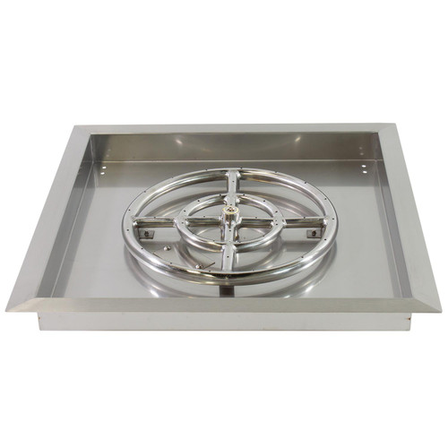 """Square 24""""x 24"""" Stainless Steel Drop-In Burner Pan for Natural Gas or Propane Fire Pit"""