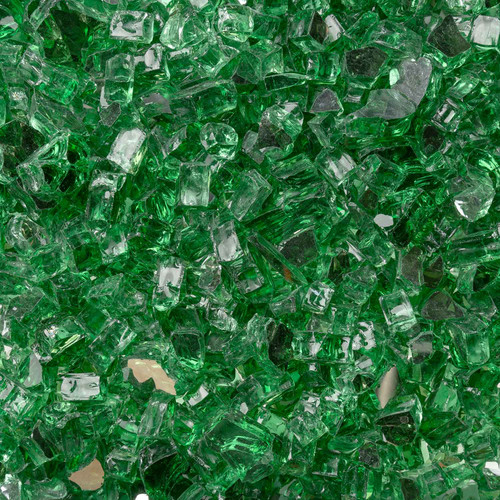"""Terrestrial Green 1/2"""" Tempered Reflective Fire Glass"""
