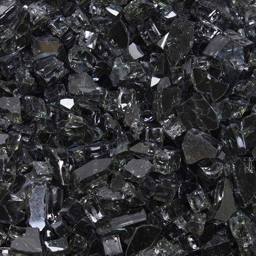 "Tempered Fire Glass - 1/4"" Dark Matter Black Reflective"