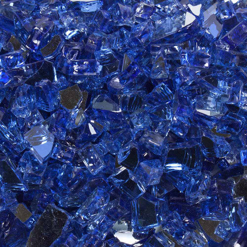 Meridian Blue Tempered Fire Glass Close Up View