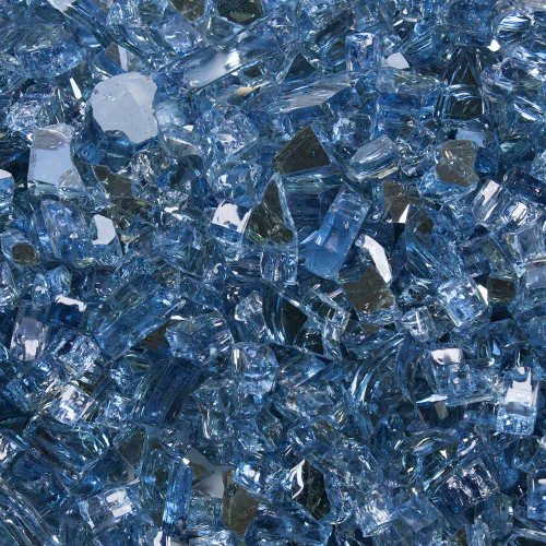 """Tempered Fire Glass - 1/4"""" Neptune Blue Reflective"""