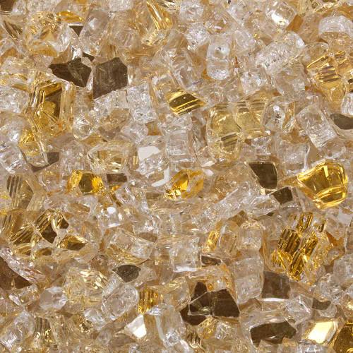 Swatch of 1/2 inch golden sunlight Reflective Tempered Fireglass