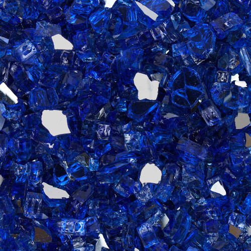 """Half Inch (1/2"""") Meridian Blue Tempered Fire Glass"""