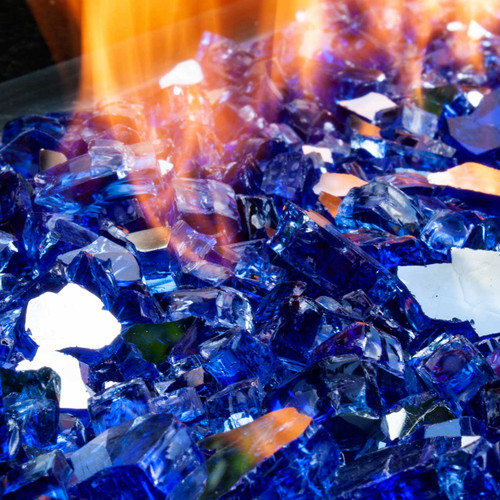 Close up of azure abyss blue fire glass pieces