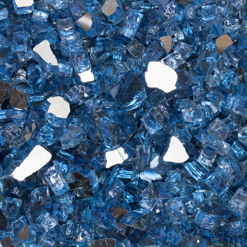 "1/2"" Neptune Blue Tempered Fire Glass"