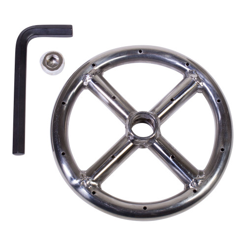 """6"""" Round Fire Pit Burner Ring, Stainless Steel, Single Ring"""
