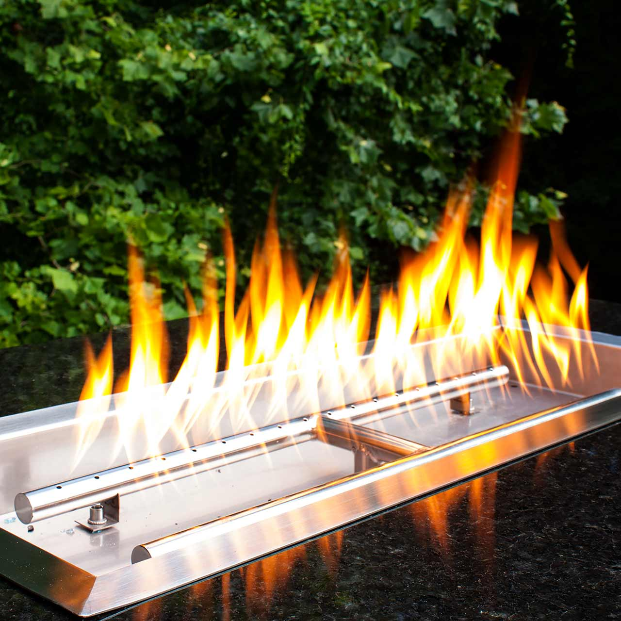 Stainless Steel Drop In Fire Pit Pan With H Burner 24 X 8