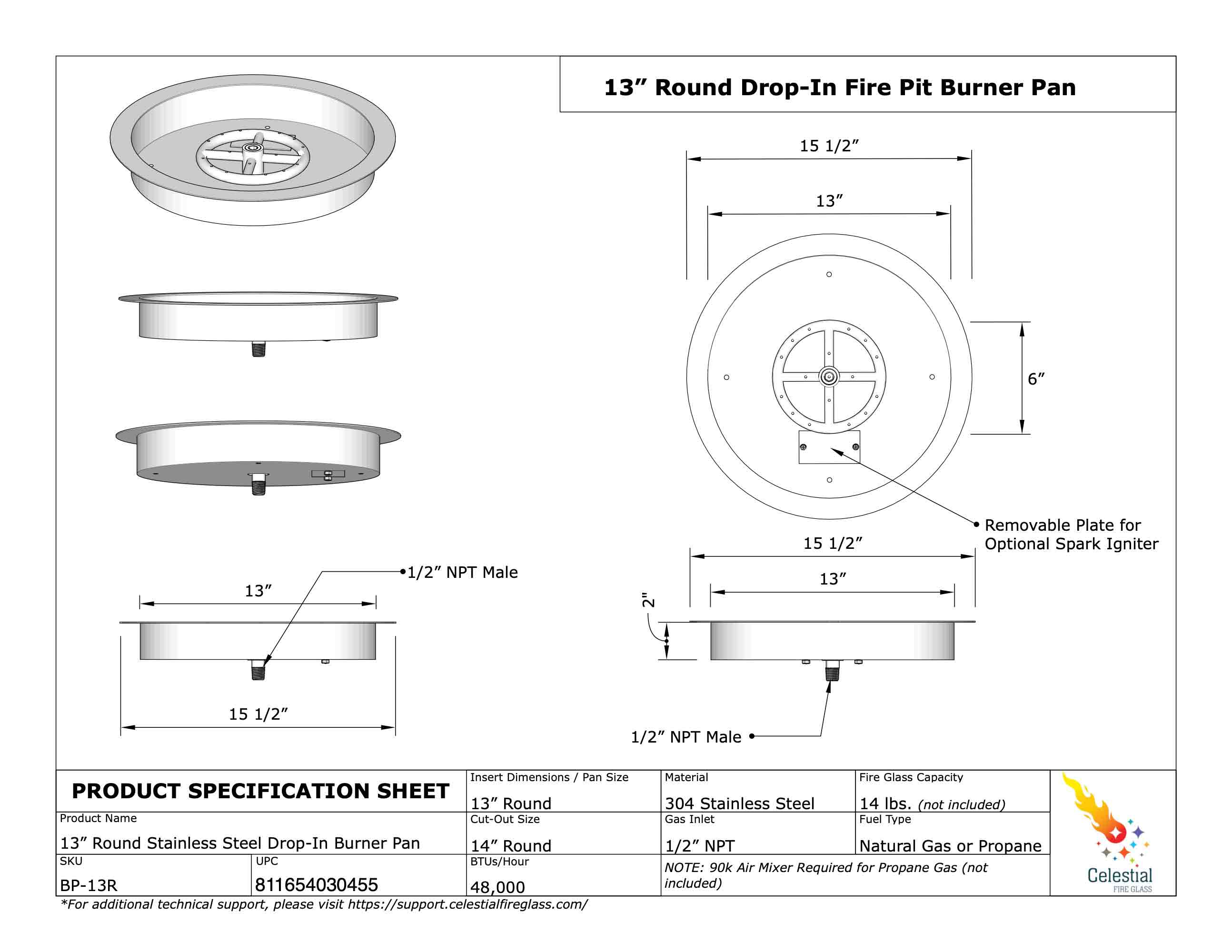Stainless Steel 13 Round Drop In Fire Pit Pan With 6 Burner Ring